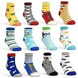 Toddler Socks Baby Boy Socks 12 Pairs Non Skid Slipper Kid Socks with Grips for 0-1/1-3/3-5/5-7 Years Old Children