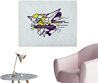 Anzhutwelve Romantic Wall Sticker Decals Together Forever Quote on Abstract Form Flowers and Geometric Shapes Poster Print Indigo Yellow Green Mint W32 xL24