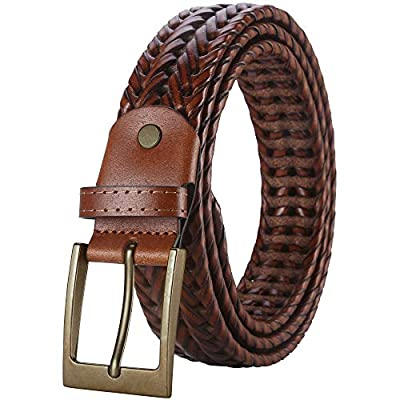 Mens Belt,Lavemi Leather Woven Braided Belts for Men Casual Jeans Dress Golf,Gift Boxed (35-2828-2 Brown 115)