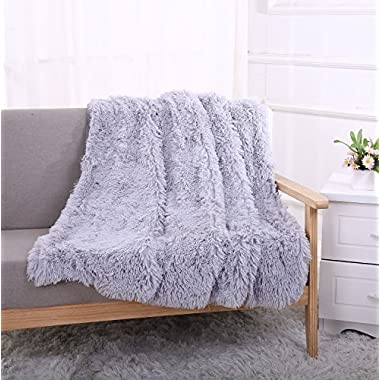 YOUSA Super Soft Shaggy Faux Fur Blanket Ultra Plush Decorative Throw Blanket 63''79'',Grey