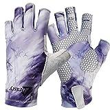 Drasry UV Protection Fishing Fingerless Gloves Men Women UPF 50+ SPF Gloves for Fishing Kayak Paddling Hiking Sailing Rowing Sun Gloves (Purple - Storm, L)