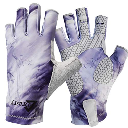 Drasry UV Protection Fishing Fingerless Gloves Men Women UPF 50+ SPF Gloves for Fishing Kayak Paddling Hiking Sailing Rowing Sun Gloves (Purple - Storm, S)