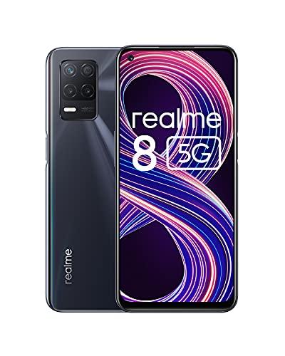 realme 8 5G Smartphone Libre, Procesador Dimensity 700 5G, Pantalla Ultra Smooth de 90Hz, batería masiva de 5000m, cámara con 48MP y modo nocturno, Dual Sim, NFC, 4+64GB, Negro