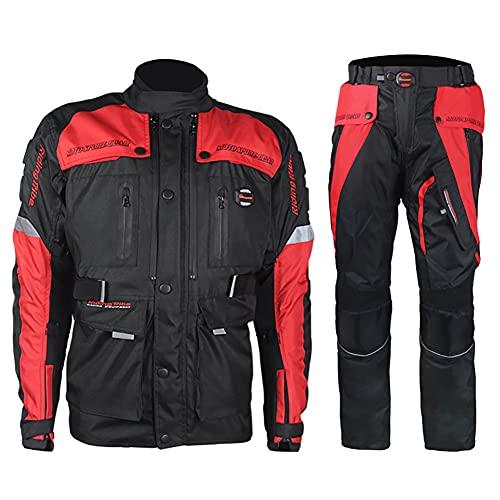 LITI Motocicleta Trajes Para Hombres 2 Piezas Moto Impermeable Chaqueta Pantalones Para Hombres CE Armadura Para Hombres Motocicleta Cordura Traje