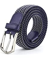 Braided Canvas Woven Elastic Stretch Belts for Men/Women/Junior with Multicolored (Blue-White, Medium/32
