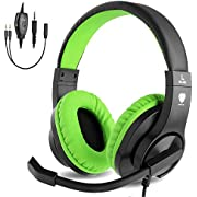 BlueFire 3.5mm Bass Stereo Over-Ear Gaming Headphone PS4 Gaming Headset with Microphone and Volume Control for PS4/New Xbox One/Xbox One S/Xbox One X/Nintendo Switch/PC/Phones (Green)