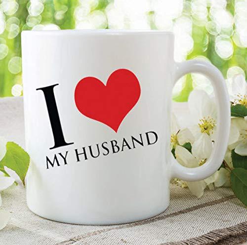 Taza de café para marido, con texto en inglés 'I Love Husband', taza de regalo de aniversario, taza de regalo de aniversario, taza de café con texto en inglés 'I Love My Husband