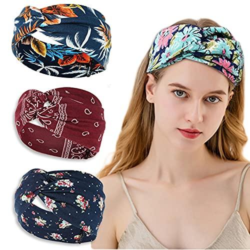 4 diademas para el pelo de mujer, elásticas y turbantes, para hacer yoga, deporte, tejido de punto que absorbe el sudor