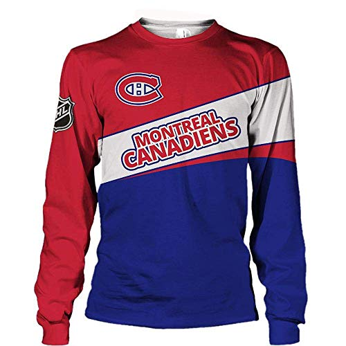 NFLSWER NHL Unisex Sweater - Montreal Canadiens Hockey-Fans 3D-Jacken Frühling beiläufige Pullover Jersey Zip Sweatshirt Langarm CoatPullover (Farbe : Short Sleeve, Size : Xarge)