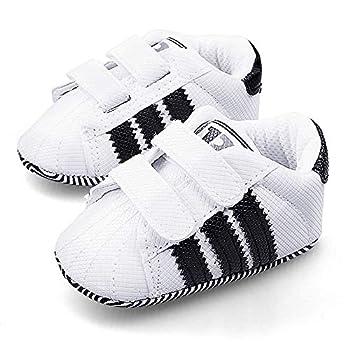 LIVEBOX Newborn Baby Boys  Premium Soft Sole Infant Prewalker Toddler Sneaker Shoes  S  0~6 Months White