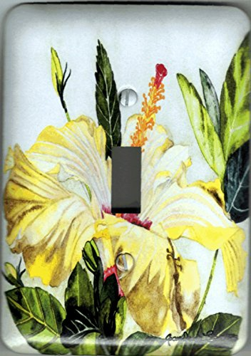 """Metal Light Switch Plate Yellow Hibiscus - """"Hibiscus"""". Artwork by Candace Lee. Comes in single toggle, 2 toggle. Matching Screws."""