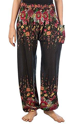 LOFBAZ Harem Pants for Women Yoga Boho Hippie Clothing Palazzo Bohemian Beach Maternity Pajama Indian Gypsy Travel Clothes Floral Black L