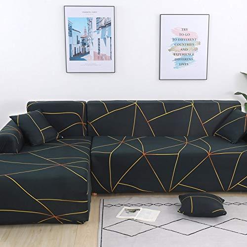 Fundas de sofá elásticas a Cuadros para Sala de Estar para Fundas sofás con Chaise Longue Funda sofá Funda para sillón A20 2 plazas
