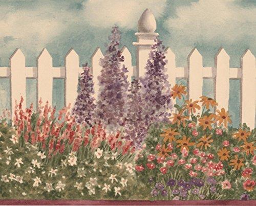 Large Rouge Blanc Violet Fleurs en blanc pour clôture Frise papier peint Motif rétro Floral, rouleau de 15'x 17,8cm