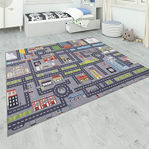 Paco Home Teppich Kinderzimmer Grau Kinderteppich Spielteppich Straßenteppich Mädchen Jungs, Grösse:80x150 cm, Farbe:Grau