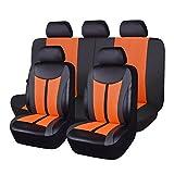 Flying Banner Fundas de asiento de coche 11 piezas asientos delanteros y banco trasero cuero empalme malla transpirable cubierta negro con color naranja
