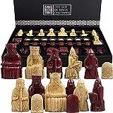 The Isle of Lewis Chessmen - Juego de ajedrez oficial de la regencia de ajedrez Lewis, edición roja, 4 Queens