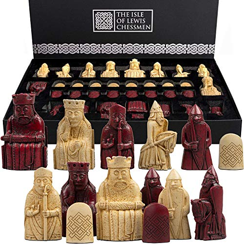 The Isle of Lewis Chessmen - Regency Chess Official Lewis Chess Set - RED Edition - 4 Queens