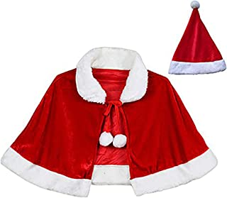 Blevla Mini Christmas Capes Holiday Costume Xmas Cappa with Santas Hat