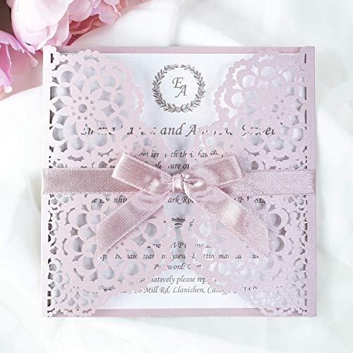 50 Stück mit Kuvert Lasergeschnittene Hochzeit Einladungskarten - Misty Rose - PINK Metallic Spitze - Hochzeitskarten hochzeitseinladungen selber basteln! :)