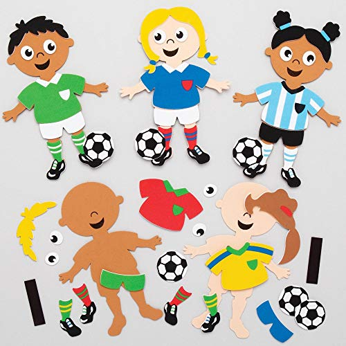Baker Ross Fußball Mix & Match Magnet Bastelsets, für Kunsthandwerksprojekte für Kinder (8er-Pack), sortiert