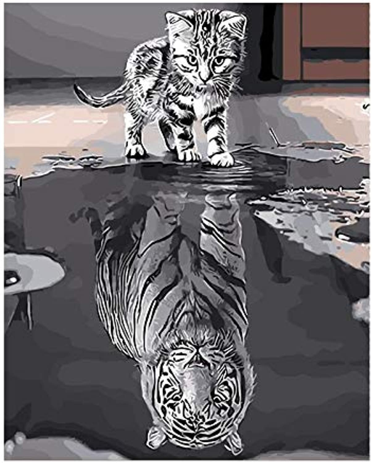 Tuwba Paint by Numbers Adult Kit Reflection Cat Animal Beginner Acrylic On Canvas,Framed 40X50Cm