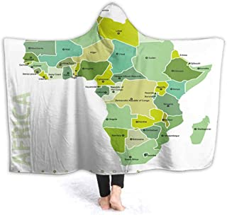 prunushome Hooded Blanket Map Frica Kids Huggable Pillow and Blanket Perfect for Pretend Play, Travel, nap time, 80W by 60H Inches