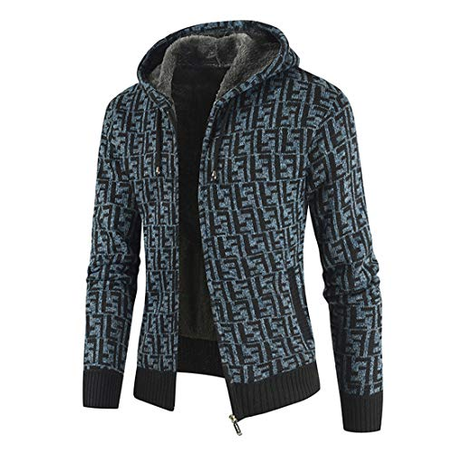 XLDD Men's Fleece Hoodie Jackets Winter Warm Thick Jacket Outdoor Zip Jacket Coat Sports Fleece Lined Jacket Comfortable Sweatshirt Autumn Stylish Retro Outwear L