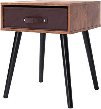 IWELL Mid-Century Nightstand, Wooden End Table with Drawer, Side Table for Small Spaces & Bedroom, Solid Wood Legs Decent