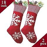 DJXLMN 2PCS Calcetines de Navidad, Copos de Nieve de Punto Calcetines de Navidad Bolsas de Regalo, Adornos navideños
