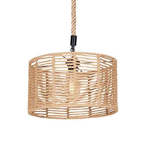 Raelf Luz colgante de estilo industrial retro, araña de hierro industrial retro, iluminación pendiente antigua en la granja de campo americana, lámpara colgante de la cuerda tejida de la cuerda de cáñ