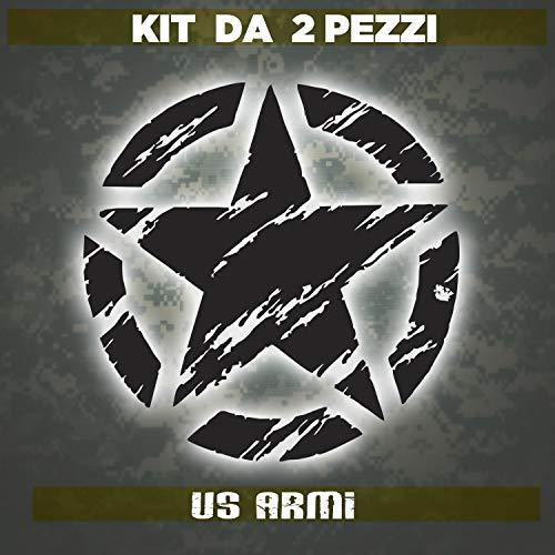 Kit Adesivi - 2 Pezzi Stella Militare US ARMY Vintage fiancata Posteriore (10x10 nero)