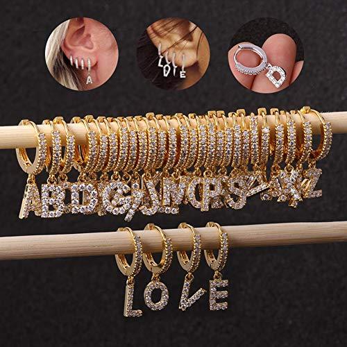 LUCKLY 26 Lettere Ciondolo Cerchio dell'Acciaio Inossidabile Piercing Orecchini per Orecchio Donne Oro Bone O Forma cartilagine Iniziale,T