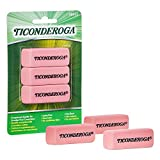 TICONDEROGA Pink Carnation Erasers, Wedge, Medium, Pink, 2-5/16 x 13/16 x 7/17 Inches, 3-P...