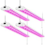 AntLux 4FT LED Grow Lights 50W Full Spectrum Integrated 4 Foot Growing Lamp Fixtures for Greenhouse Hydroponic Indoor Plant Seedling Veg and Flower, Plug in, on/Off Pull Chain Included, 4 Pack