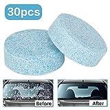 Wemk 30Pcs Liquido lavavetri Pastiglie Effervescenti, Car Parabrezza Pulizia Accessori per Auto Detergente per vetri Auto Solid Wiper, Rispetto dell'ambiente, Risparmiare