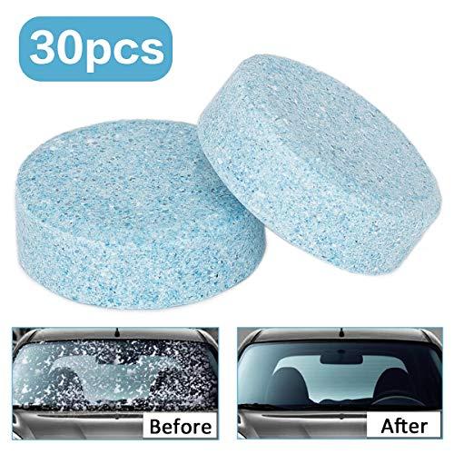 Wemk Windschutzscheiben Reiniger Tabs, 30er Packung Multifunktionale Scheibenreiniger Tabletten, Konzentrierte Glasreiniger Brausetabletten, Umweltfreundlich und Platzsparend