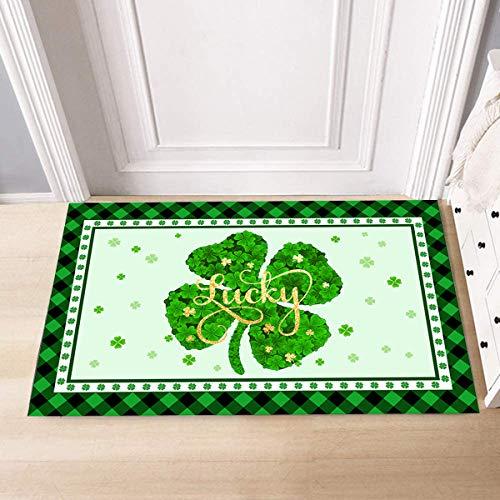 St. Patrick's Day Doormat Decorative Floor Mat Entrance Mat Non Slip Washable Indoor Outdoor Lucky Welcome Doormat for St. Patrick's Day Entrance Decoration (Clover Luck)