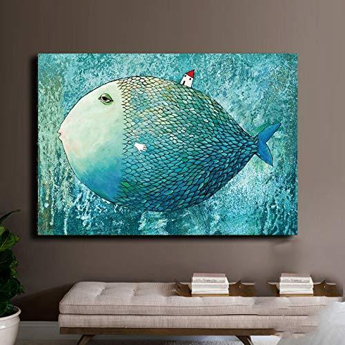 KWzEQ Leinwanddrucke Big Fish kleines Haus Wanddekoration für Wohnzimmer Wandkunst Bild nach Hause Poster Kunstwerk60x90cmRahmenlose Malerei