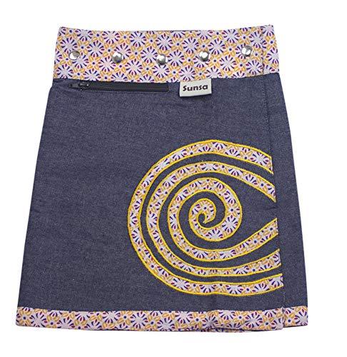 Sunsa Mädchen Rock Minirock Jeansrock Wende-Wickelrock Sommerrock kurz, Mini Jeans Mädchenrock Girls Skirt, 2 Kinder Röcke in einem, Verstellbarer Größe, Kid's Coole Sachen, Geschenk 15706