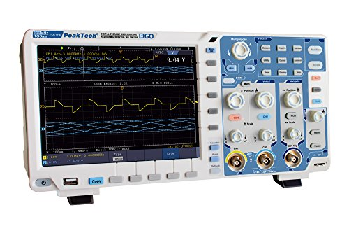 PeakTech 100 MHz 2 Kanal 12 Bit Touchscreen Digital Speicher Oszilloskop 1 GS/S mit WLAN/WiFi, USB, Lan, VGA, PC Software, Multimeter, 25 MHz Generator und Frequenzzähler, Akku Opt, 1 Stück, P 1360