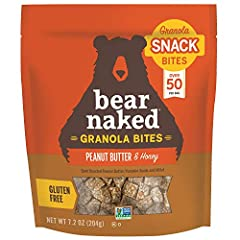 7.2 OZ POUCH of Bear Naked Peanut Butter & Honey Granola bites, a tasty way to start your day CLEAN INGREDIENTS: A delicious blend of dark roasted peanut butter, pumpkin seeds, and millet FUEL YOUR DAY: With 6 grams of protein and 11 grams of whole g...