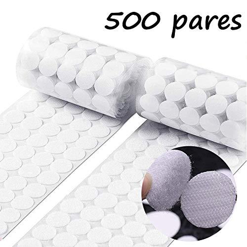 500 Pares Adhesivo Redondo Monedas, Lunares Adhesivo 15mm Cintas Autoadhesivo puntos de Adhesivo(1000 Piezas,Blanco)