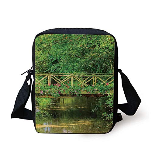 Apartment Decor,Small Bridge Decorated with Cute Flowers Over Clear Stream in Summer Garden Decorative, Print Kids Crossbody Messenger Bag Purse