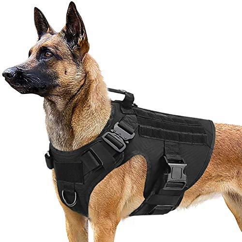 PETODAY Tactical Dog Harness for Medium Large Dogs,Working Dog Training Molle Vest,with 2X Metal Buckle,Military Dog Harness with Handle,Hook and Loop Panel for Dog Patch (Black, (Chest 28'-40'), L)