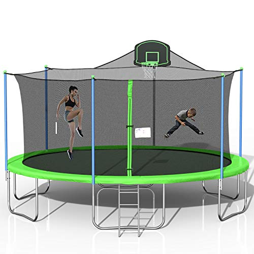 Merax 16 FT Trampoline with Enclosure Net, Circular Trampolines Outdoor Parkside for Adults/Kids, Family Jumping and Ladder with Basketball Hoop (Green)