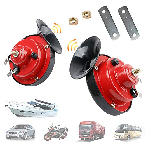 WeChip 2pcs 115db Snail Horn for Truck Car Motorcycle, Super Loud Air Horns 12V Waterproof Air Electric Snail Horn Raid Siren Raging Sound for Truck Car Motorcycle Bikes Boat Crane