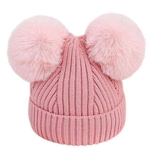 URSING Baby Strickmütze Kinder Mädchen Jungen Warme Stricken Hüte Mützen Wolle kappe Wintermütze Winterhüte Kindermütze Kopfbedeckung Bommelmütze Pudelmütze Häkelmütze