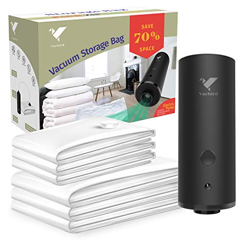vacbird Vakuumbeutel mit elektrischer Pumpe, 6 STÜCKE (3/50cm*70+3/60 * 80cm) Vakuumbeutel-Aufbewahrungsbeutel sparen Platz Wiederverwendbare Vakuumbeutel für die Reise und den Heimgebrauch