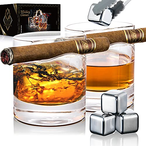 YouYah Cigar Whiskey Glasses with Cigar Holder-Set of 2,Cigar Accessories,Crystal Glass with 4 Ice Cubes,Tong & Indented Cigar Rest,Rocks Glass,for Brandy,Cocktail,Vodka,Gifts for Men (Circular)